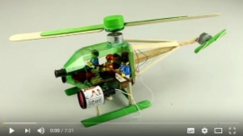 Helikopter - taaskasutusmaterjalidest